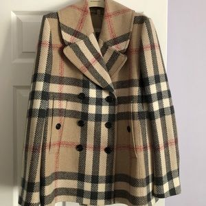 Burberry camel check peacoat size 12